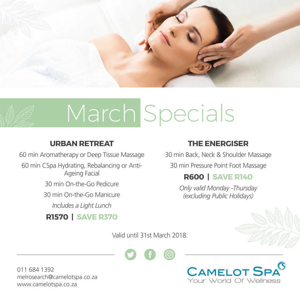 Camelot Spa Melrose Arch March Specials 2018