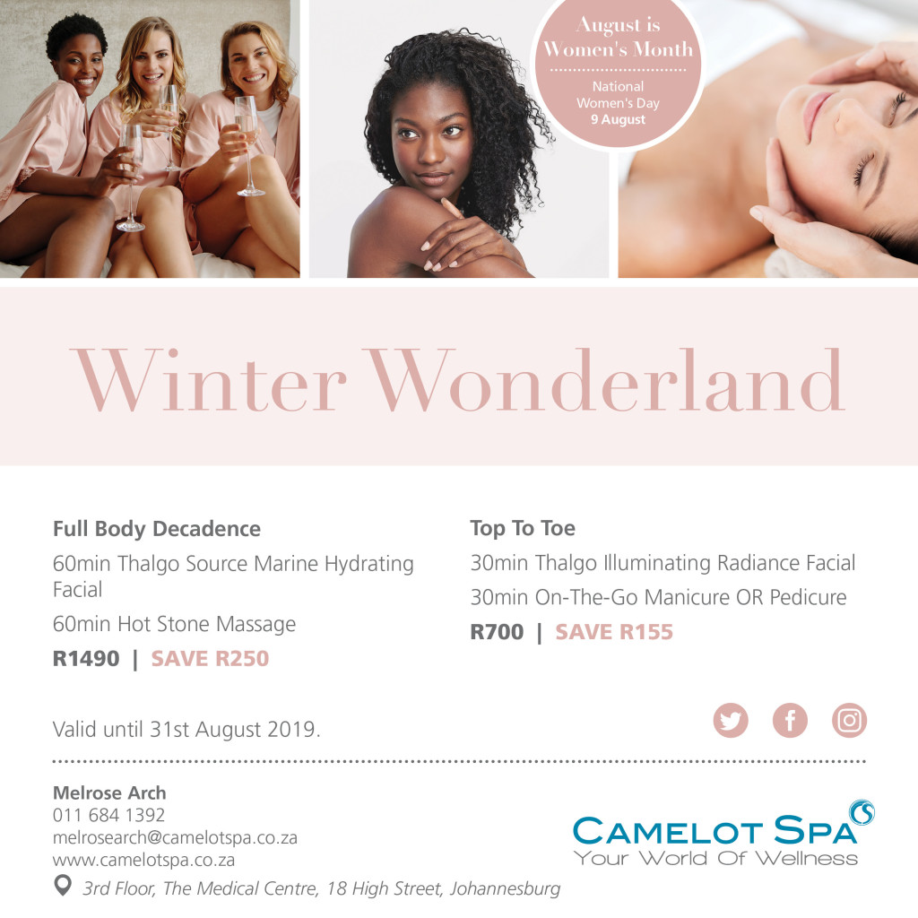 Camelot Spa Melrose Arch Specials July & August 2019