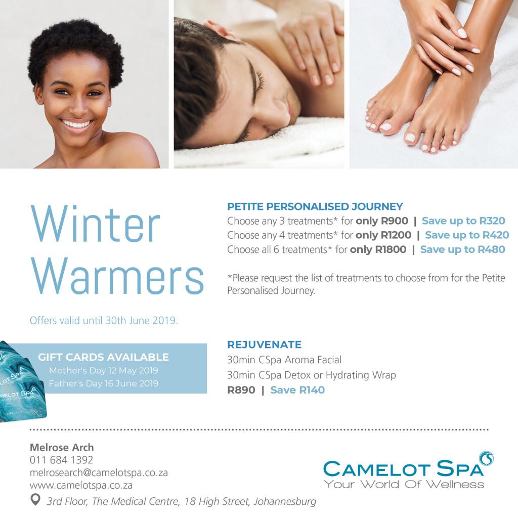 Camelot Spa Melrose Arch Winter Warmer Specials 2019